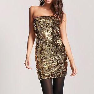 Forever 21 gold sequin mini dress